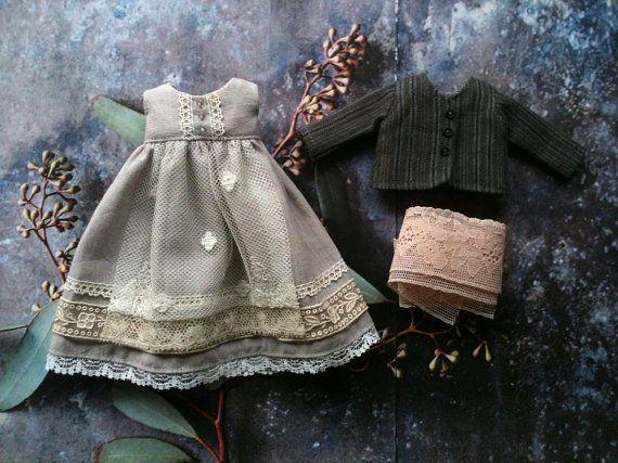 Cloudy Day Dress and Jacket set for Blythe par moshimoshistudio
