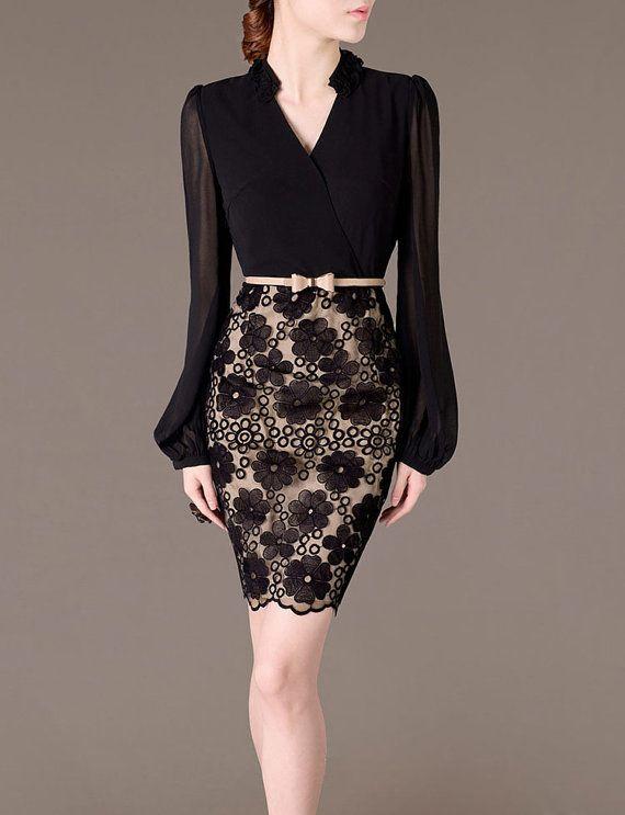 Puff Long Sleeve Dress Elegant Autumn Dress Feminine Black Chiffon Dresses V Neck Office Lady Sweet Girl XS F54