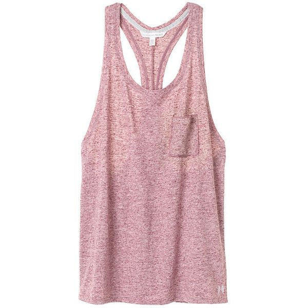 Victoria's Secret Pocket Tank ($25) ❤ liked on Polyvore featuring tops, pocket tank top, loose fit tank tops, victoria secret tank, racer back tank top and loose tank tops