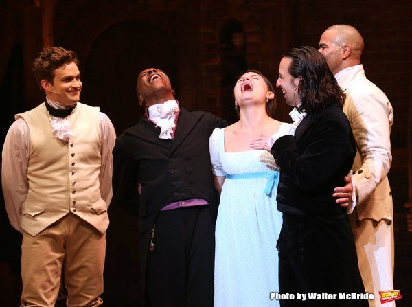 "When Lin realizes the orchestra is playing the ""West Wing"" theme song... priceless.   Lin-Manuel Miranda, Leslie Odom Jr. and Phillipa Soo Take Final Bows in HAMILTON!"