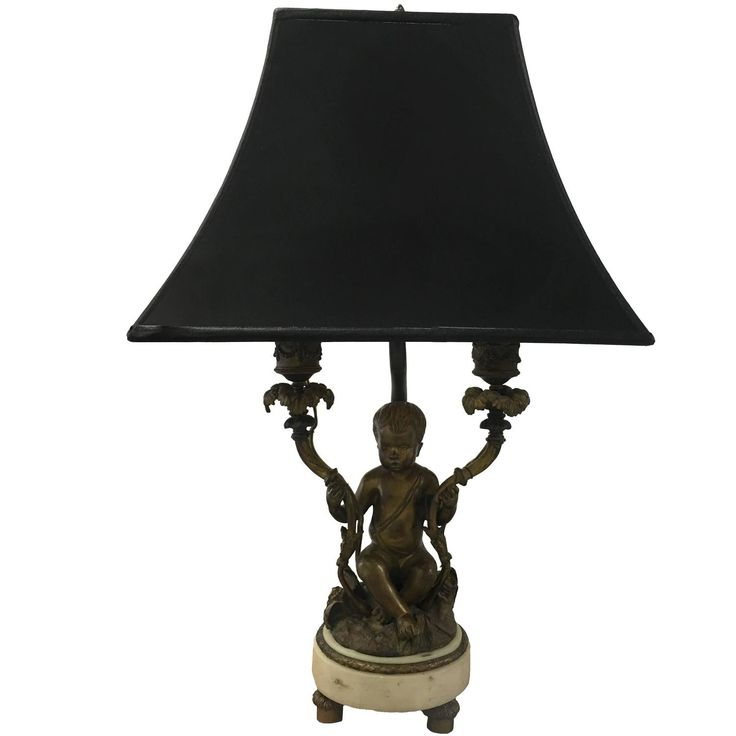 Rococo Style Bronze Putti Figurine Dressing Table Lamp | See more antique and modern Table Lamps at https://www.1stdibs.com/furniture/lighting/table-lamps