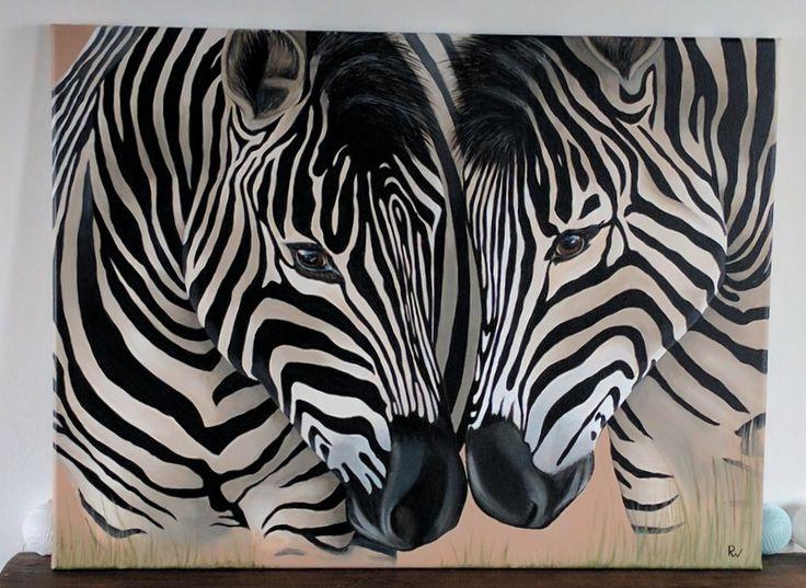 Schilderij in opdracht; zebra's