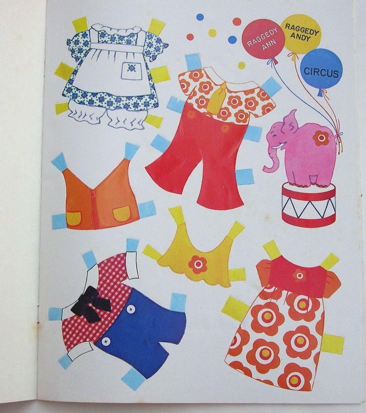 Vintage Whitman Bobbs Merrill Raggedy Ann Andy Circus Paper Dolls 1974 Uncut | eBay