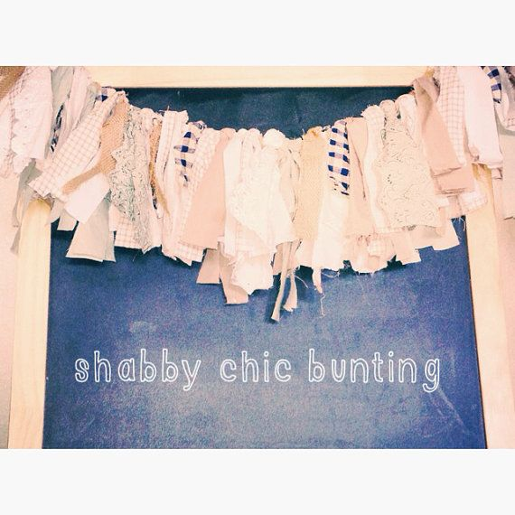 Blue, Green, Tan, Burlap, and Lace Shabby Chic Rag Tie Bunting on Etsy, $35.00