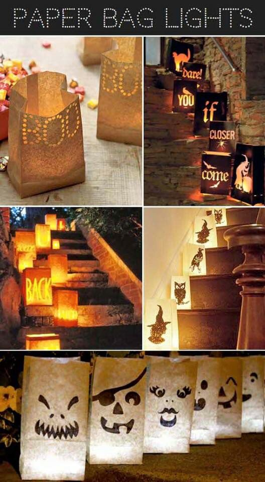 Use paper bag like craft as an alternative for jack-o'-lanterns during Halloween