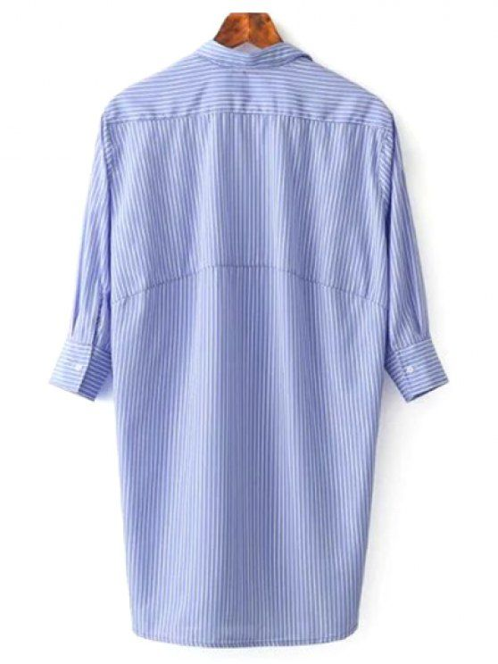 Striped Floral Embroidered Tunic Shirt Dress - BLUE M Mobile