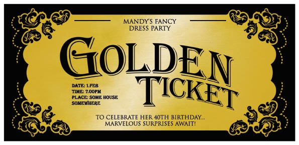 Birthday Party Invitations Willy's Golden Ticket- invitation idea ...