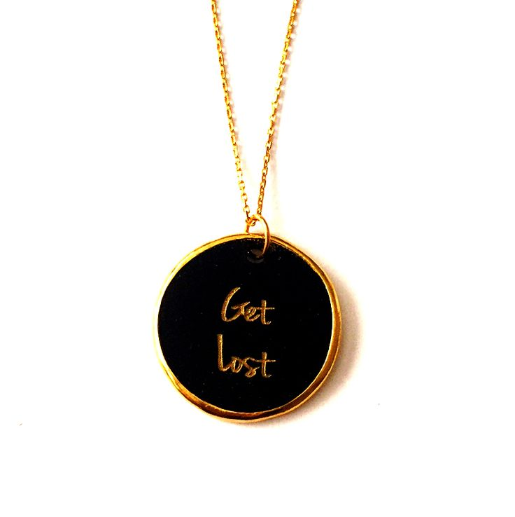 Get Lost gold plated silver chain and black plexiglass necklace