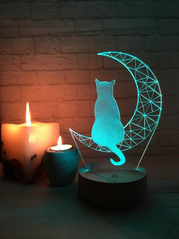 Cat 3d Led Lamp With 16 Colors Of Light Moon Lamp Cat Lovin Etsy Hand Painted Decor Cat Lamp 3d Led Lamp