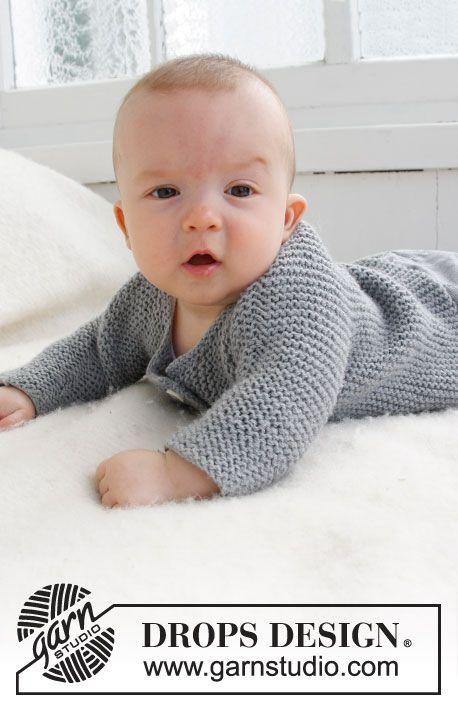 """""""Grey Gosling"""" jacket worked sideways in garter stitch (1 month-4 years) beginner's level free pattern"""
