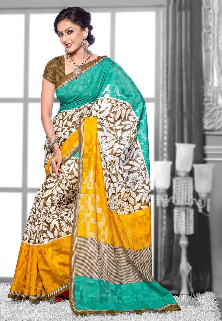 Mehendi-Off white Color Bhagalpuri Silk Designer Saree