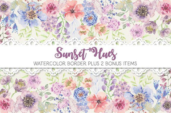 Watercolor border in sunset hues by Lolly's Lane Shoppe on @creativemarket