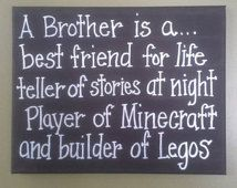 Brother best friend minecraft legos sign boys room decor 11x14 canvas