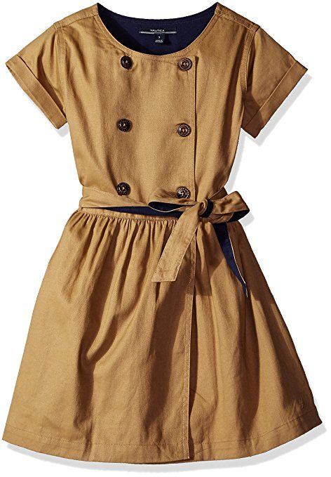 Nautica Little Girls Peacoat Dress with Sash, Khaki Tan, 2T