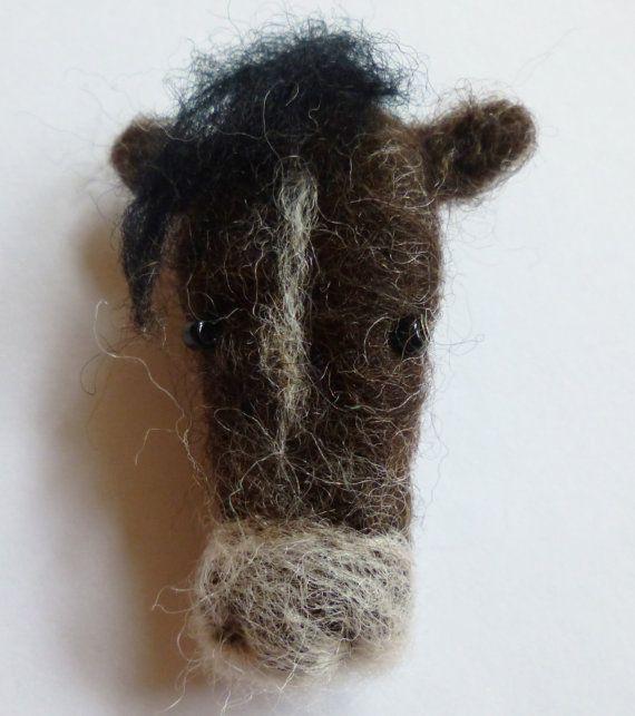 Needle Felted Farmyard Horse Brooch
