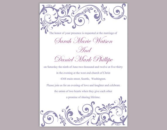 DIY Wedding Invitation Template Editable Word File Instant Download Purple Wedding Invitation Purple Invitation Elegant Printable Invitation by TheDesignsEnchanted