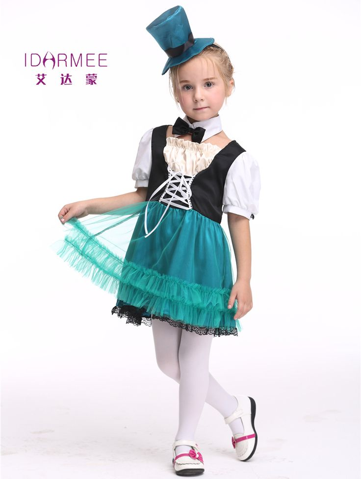 IDARMEE Girl Dress Maid Costume Kids Waiter Servant Cosplay Magician Costumes Halloween Costume for children S9137 #Affiliate