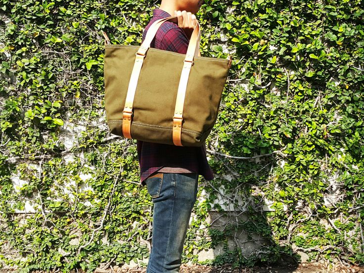 Mens Canvas & Leather Tote Bag / Mens Work Bag / Carry All / Weekender / Travel bag / Unisex Shoulder Bag / Zipper 4 Pockets 2 Pencil Slots by LoveMeLoveMyMeow on Etsy https://www.etsy.com/listing/265056920/mens-canvas-leather-tote-bag-mens-work