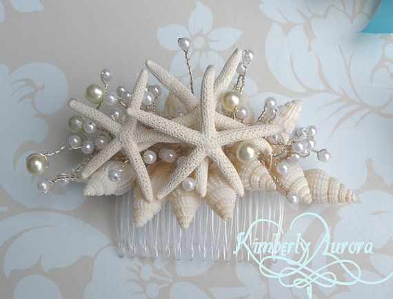 beach wedding starfish hair accessory comb blue pencil starfish style made to order custom details