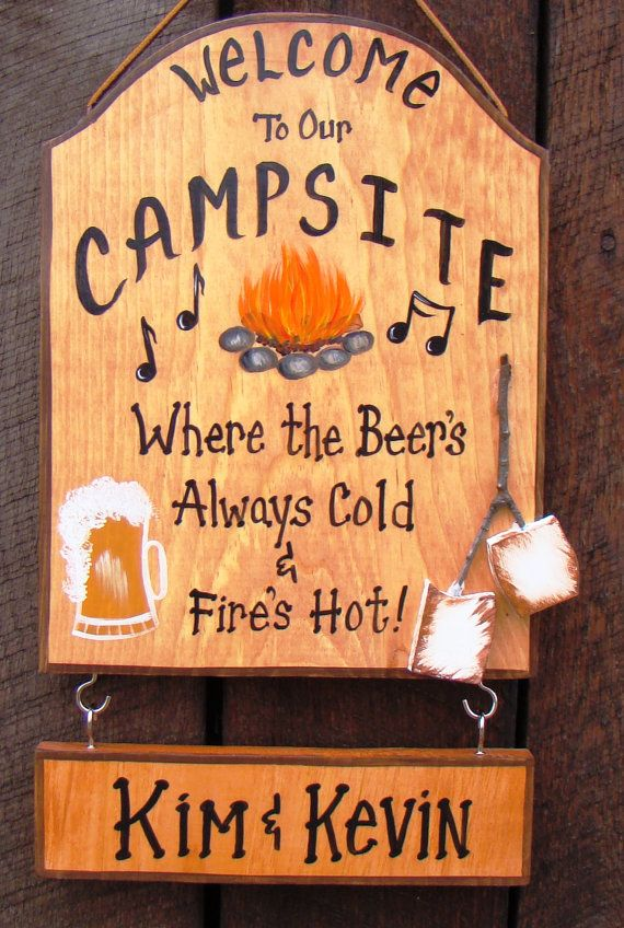Custom Camping Sign Painted Welcome to our Campsite RV Camper  Sign  Music Beer Fire Marshmallows Your Name Bonfire Firepit