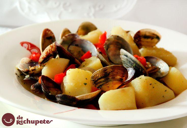 Almejas con patatas. Guiso marinero - Recetasderechupete.com
