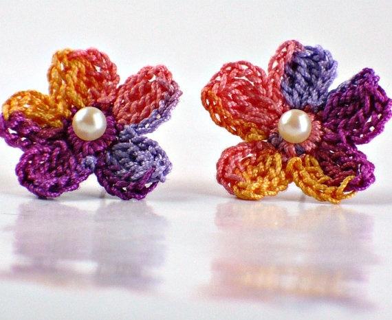 Crochet Flower Earring Studs Lavender by Nothingbutstring on Etsy