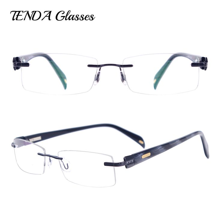 Metal Acetate Rectangle Rimless Spectacles Men Glasses For Prescription Eyeglass Lenses #Affiliate