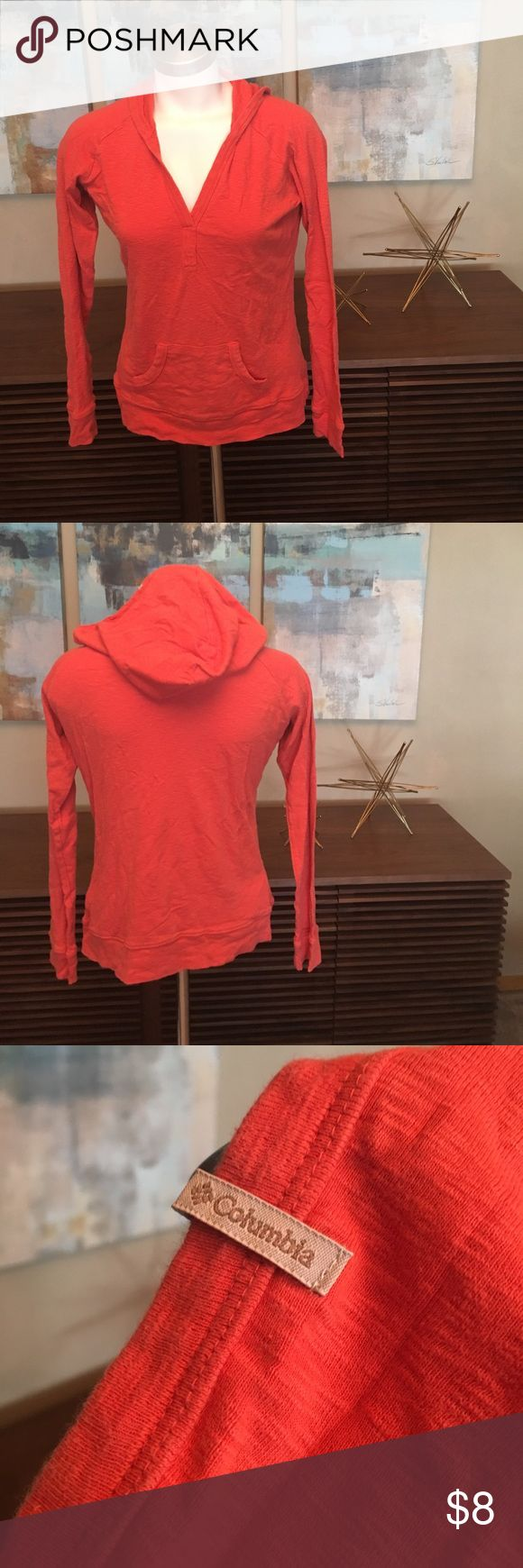 Columbia Sportswear Company burnt orange hoodie Columbia Sportswear Company burnt orange hoodie, size M.  Well loved, but still plenty of life left!  The most sign of wear is the size sticker (see photo) Columbia Tops