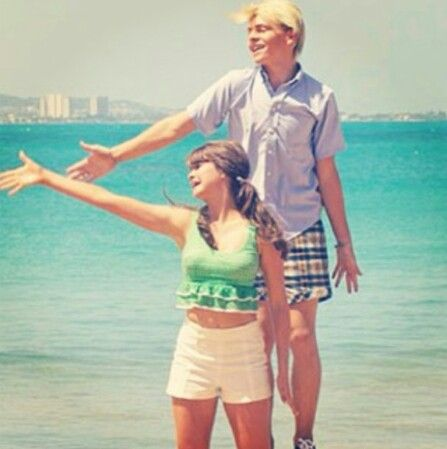 Maia Mitchell and Ross Lynch from surfs up!