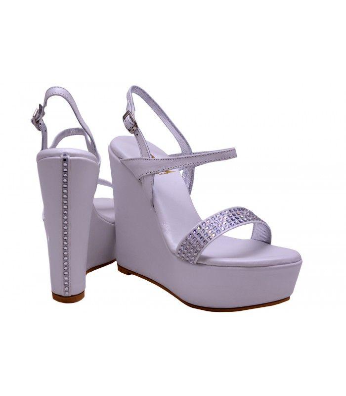 LEATHER BRIDAL WEDGE SANDALS DESIGNER LOU Bridal wedge sandal with crystal swarovski.