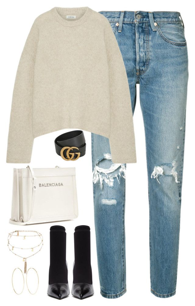 """Untitled #4449"" by magsmccray ❤ liked on Polyvore featuring Levi's, Gucci, Totême, Balenciaga, Ettika and Magda Butrym"
