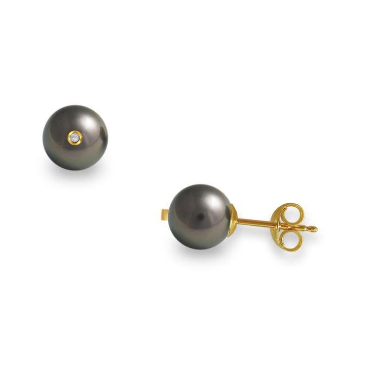 Σκουλαρίκια Κ18 Χρυσά με μαύρα Μαργαριτάρια και Διαμάντια - M317599B
