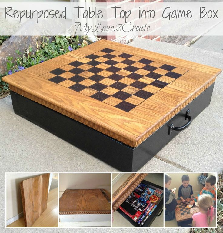 mylove2create repurposed table top into game box home. Black Bedroom Furniture Sets. Home Design Ideas