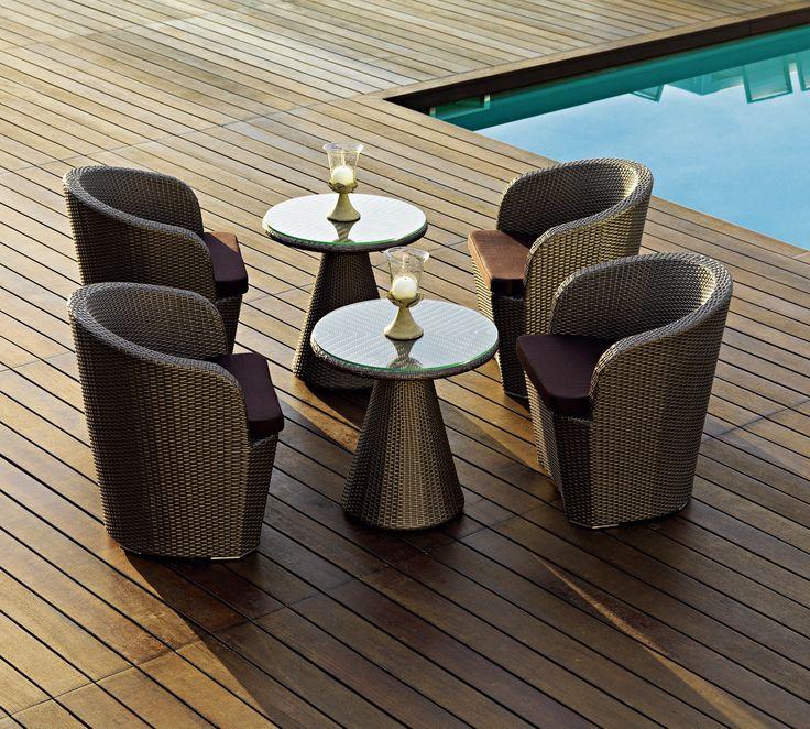 Gardenia armchair Collection with aluminium frame and hand woven man-made fibre. #pool #beach #terrace #sun #relax #porch #loungechair #contractfurniture #contract #outdoor #outdoorfurniture