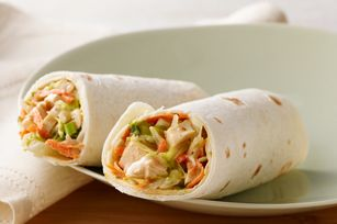 "Asian Chicken Wraps - I make a ""skinny"" version of these.  I use the light version of the Kraft Toasted Sesame Dressing, Fat Free Miracle Whip, and Tumaro's Multi Grain Low Carb tortillas.  I also like to use broccoli slaw instead of the lettuce and carrots.  These end up being only 175 calories each that way, and they're awesome for lunch."