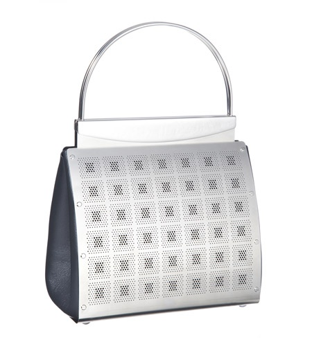"La Sera Bag   Perforated stainless steel, grey leather.  6.25""W x 6""H x 3""D by Wendy Syevens"
