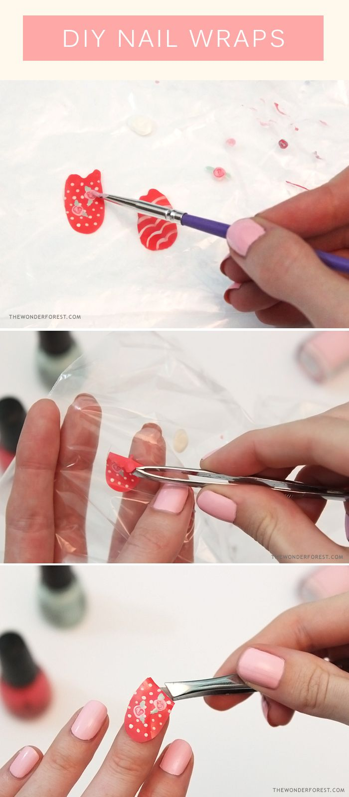 Make your own nail wraps with nail polish! No more wonky wrong-handed nail art ;):