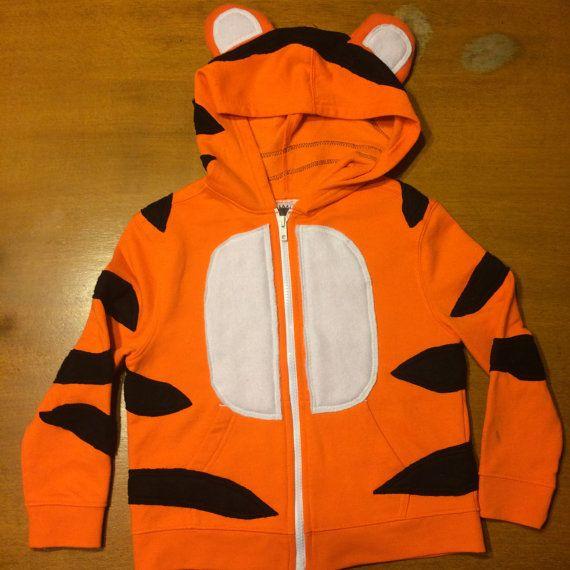 Diy hoodie TIGER! - Toddler Zipper Long Sleeve Hoodie - Orange Tiger - Handcrafted on Etsy, $65.00