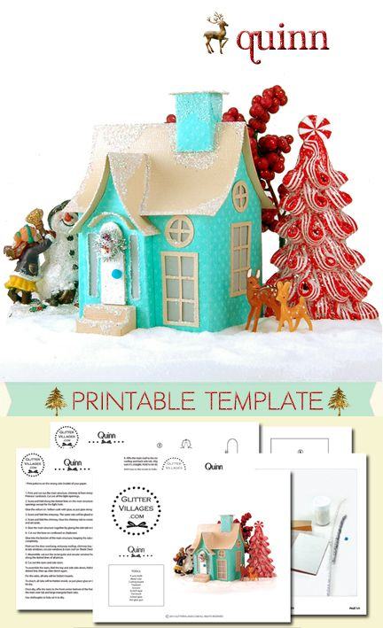 Quinn is a miniature Christmas cottage made from cardstock and glitter. Printable PDF pattern - totally customizable - decorate however you want.