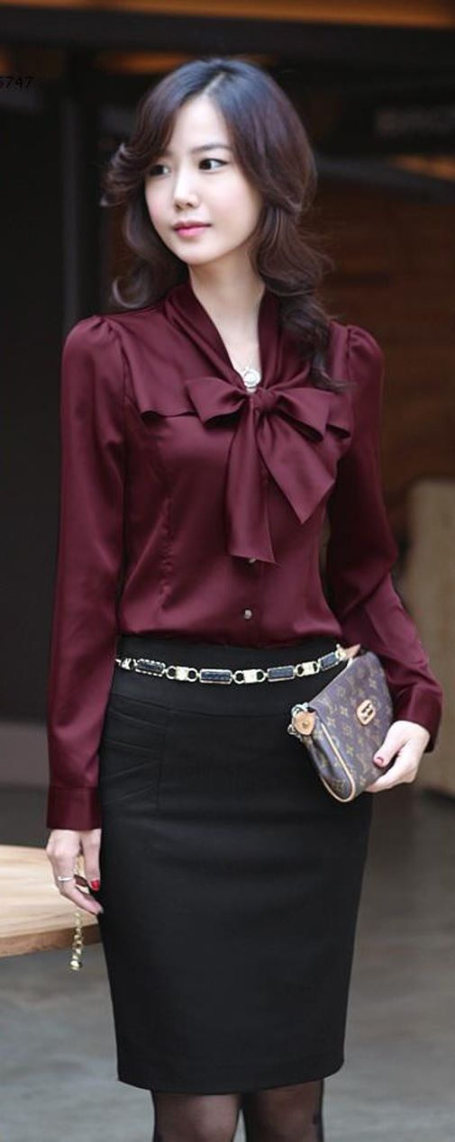 Korea Women Long Sleeve Bowknot Vintage Shirts Bowtie OL ...