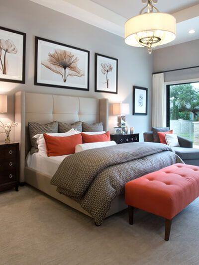 Neutral Bedroom With Burnt Orange Accents Orange Bedroom