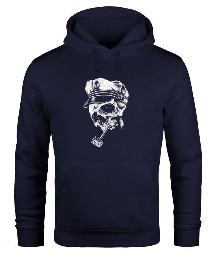 Hoodie Herren Totenkopf mit Kapitänsmütze und Pfeife Kapuzen-Pullover Männer Neverless®