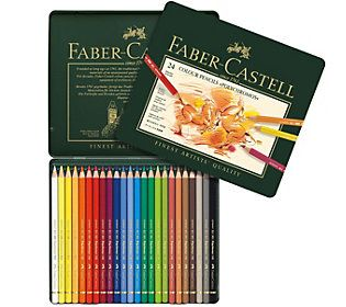 Faber-Castell Polychromos 24-Piece Colored Pencil Set with Tin