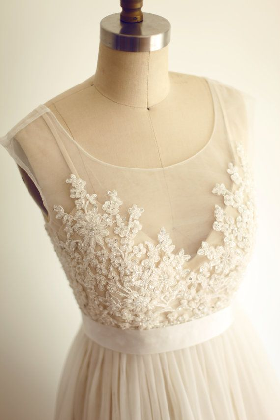 Other Custom Made Sheer Illusion Tulle Lace Beading Wedding Dress inspired by Watters Jacinda