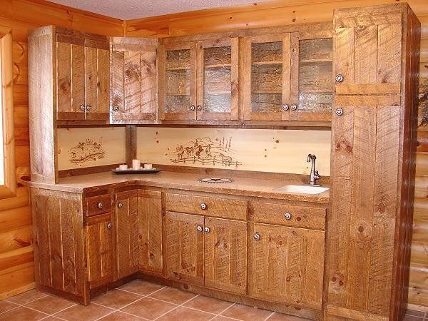 Pine rough sawn kitchen designs the home kitchens for Western kitchen cabinets