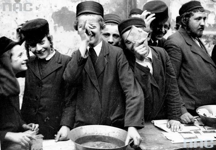 Feast of the of Rabbi Remuh on the Remuh Cemetery in Krakow. Jewish boys during the holidays (May 1931)..