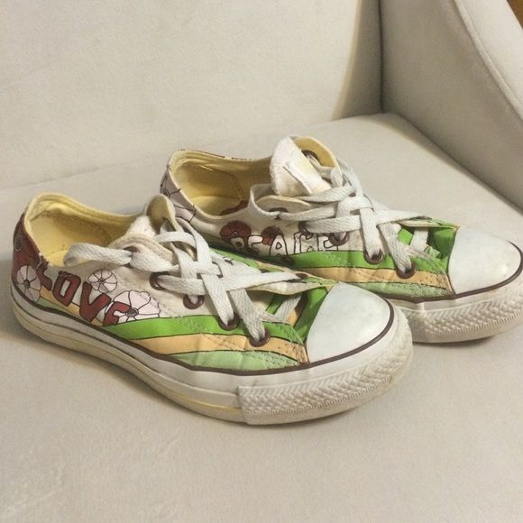 Awesome Converse All Stars Very hippy boho like printed pair of Converse All Star sneakers. Laces really neat and in very good condition. Women's size 6 Converse Shoes Sneakers