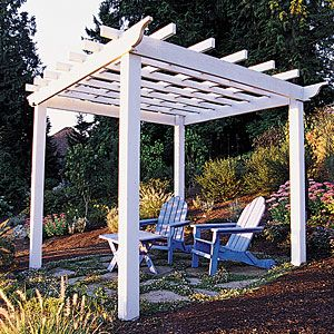 How to build a basic square pergola - This handsome wood trellis turns a patch of backyard into a shady kick-back space