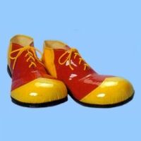 "These vinyl deluxe clown shoes are actual shoes, not shoe covers, with heavy duty rubber soles. Very good quality for the price. One size fits most, small shoe sizes can wear them with a sneaker or a gel insole inside. Hollow toes which can be stuffed with foam or other padding if desired. Fits up to men's size 12 and are 15"" in length.   Get Red and Yellow Vinyl Clown Shoes only at $27.00 from Clownantics.com"