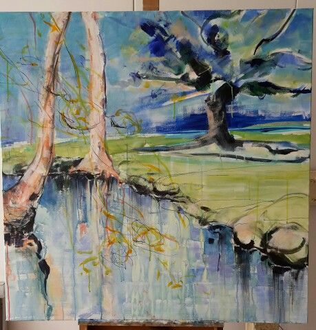 's Graveland.. acryl on canvas 1x1 mtr
